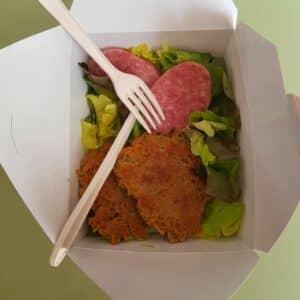 La popotte du jour Râpé de pommes de terre saucisson à cuire et salade (1)