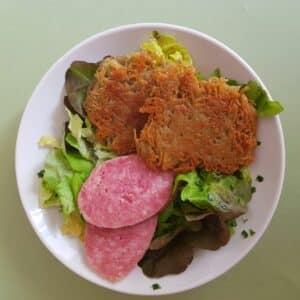 La popotte du jour Râpé de pommes de terre saucisson à cuire et salade (2)